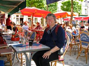 Lunch at a cafe near Versailles in France