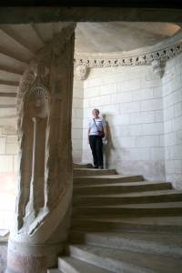 Climbing a spiral staircase at Chaumont castle in France