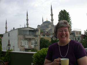 Breakfast on the terrace near the Blue Mosque in Istanbul