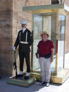 Posing near the guard at Ataturk's mausoleum in Ankara, Turkey