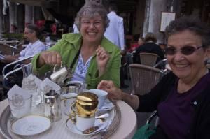 Enjoying coffee in San Marcos square in Venice