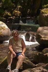 On a hot day at Multnomah Falls near Portland