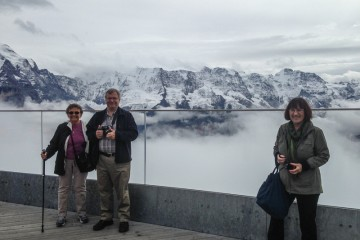 Doree, Dave and Joyce on the Skywalk Terrace at Schilthorn.