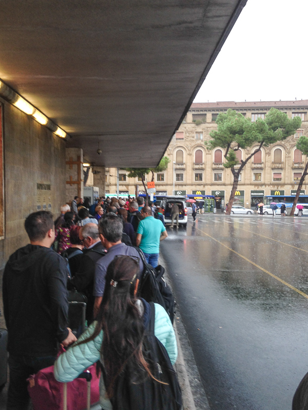 The taxi line at Florence train station