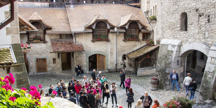 The main courtyard of Castle Chillon