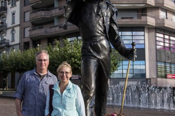 Steve and Linda pose by the statue of Freddie Mercury on the waterfront in Montreux.