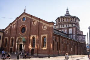 This is the church of Santa Maria delle Grazie in Milan. There is a Dominican monastery next door, and its refectory (dining room) is the location of Leonardo da Vinci's famous painting of The Last Supper.