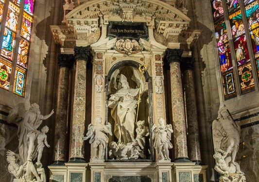 One of the side altars in the Milan cathedral.