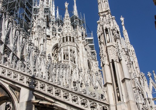 A view of the back towers of the Milan cathedral