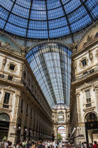 Milan's Galleria shopping center is packed with people on a Sunday afternoon. This is a high-end shopping experience, including Prada and Ferrari.