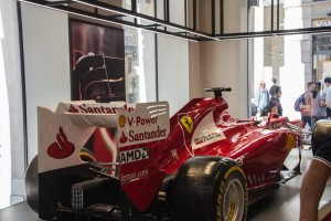 Here is an exhibit at the Ferrari store. In the lower level there were simulators; you could pretend to drive one of these through a movie.