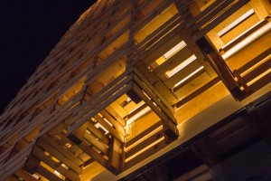 Another view, from underneath, of the wood crate building. The crates were attached to the structure of the building.