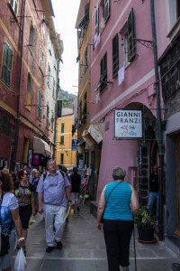Walking up the main street of Vernazza. Gianni Franzi is the name of our hotel - but from the street you can only enter their restaurant and bar. Our room is 115 steps up the hill.