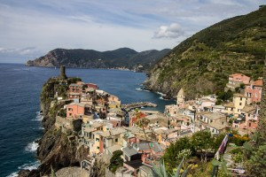View of Vernazza from above town, on the hiking trail to Corniglia.