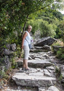 Linda leads the way up the steps on the hiking path between Vernazza and Corniglia.