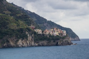 The next town over (Cinque Terre town #4) is Manarola, as viewed from the train station in Corniglia.