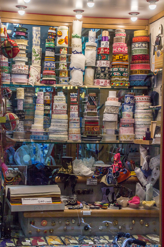 Sewing and fabric shop window