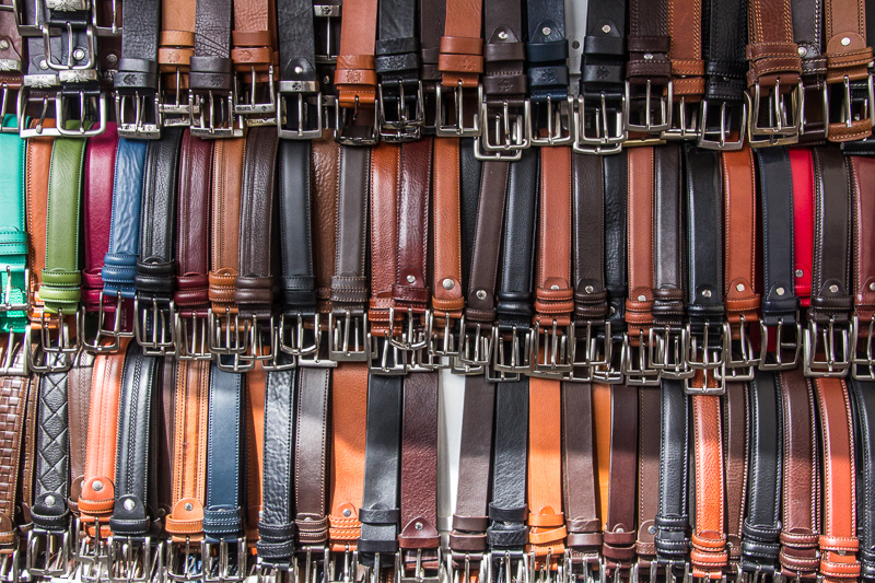 belts on display