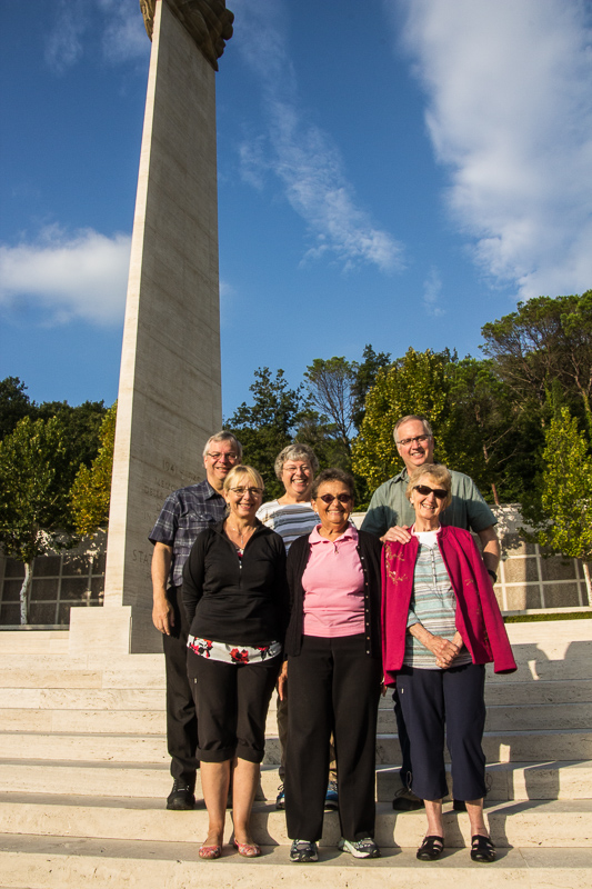 Our group at the WWII memorial. Back row: Dave, Karen, Steve. Front row: Linda, Doree, Jean