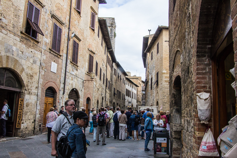 The main street in San Gimignano