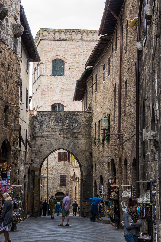 Street with archway in San Gimignano