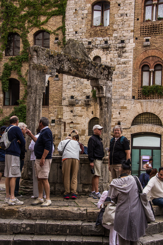 Wishing well in San Gimignano piazza