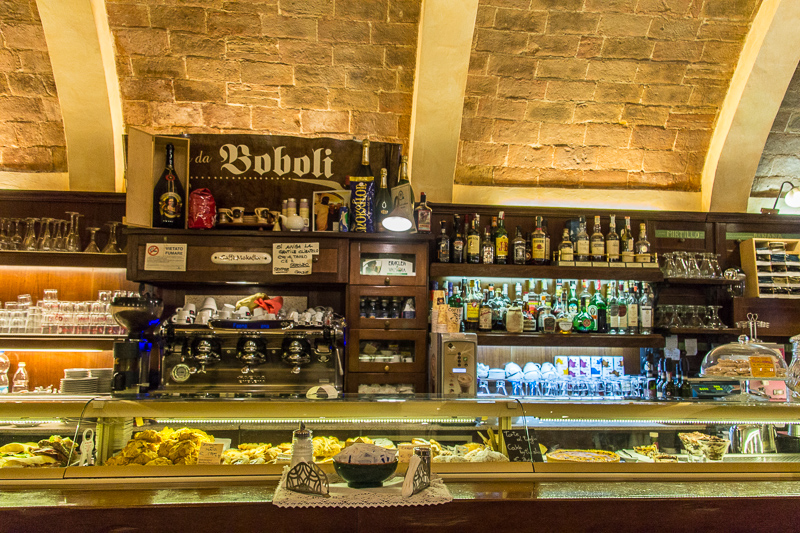 The bar of a coffee shop in San Gimignano
