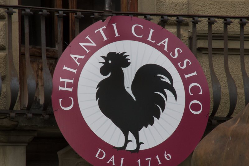 Wine brand sign in Greve for Chianti Classico