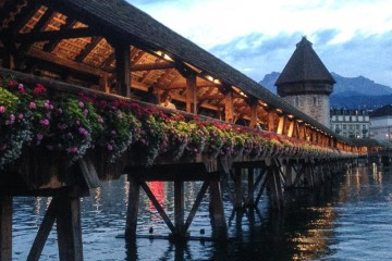 The Chapel Bridge over the Reuss River in old-town Lucerne.