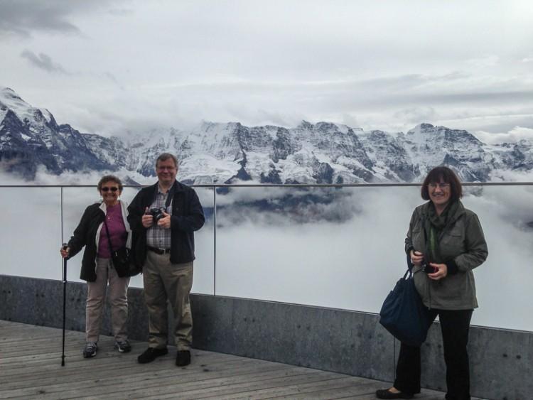 Doree, Dave and Joyce on the Skywalk Terrace at Schilthorn.