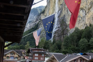 A view from our balcony in Lauterbrunnen. We're close to a beautiful waterfall!