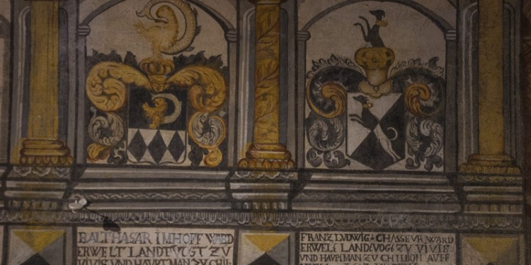 More coats of arms painted on the wall of a room in Castle Chillon.