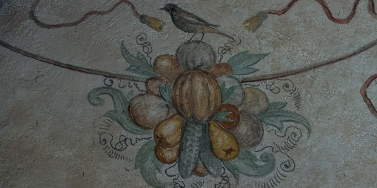 Wall decor, part of a hand-painted border in one of the rooms of Castle Chillon.