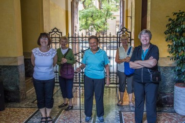 The fearless ladies of our trip are ready for another exciting day of adventure and gelato! Front row: Joyce, Doree, and Karen; back row: Jean and Linda. I didn't even pose them; they just stood this way!