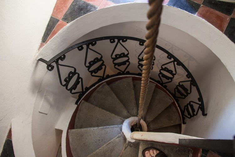 These are the steps you take to the first, second, or third floor of the Gianni Franzi building. The rope helps!